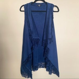 TCEC Navy Blue Suede Fringe Vest With Pockets